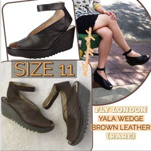Fly London YALA Brown Leather Peep Toe Wedges 11